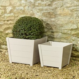 shaped hardwood planters