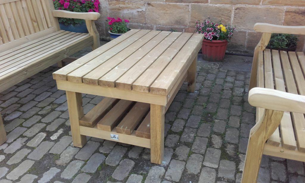 bespoke long low garden table