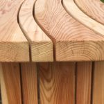 curved larch bench