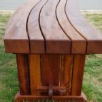 iroko curved bench